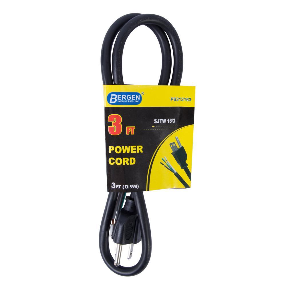 3 ft. 16/3 SJTW 3-Wire Appliance/Power Tool Cord, Black