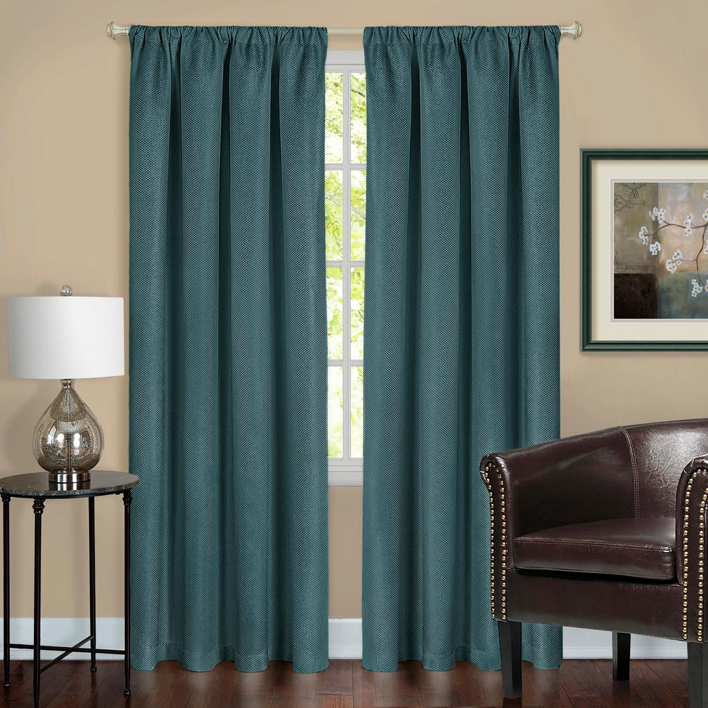 Harmony Teal Polyester Rod Pocket Blackout Panel - 52 in. W