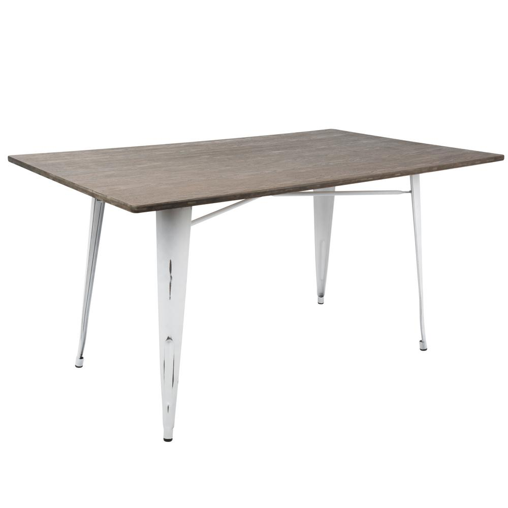 Lumisource Oregon 59 In Vintage White And Espresso Dining