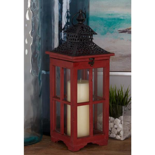 Litton Lane Pagoda Candle Lanterns in Distressed Red (Set of 2)