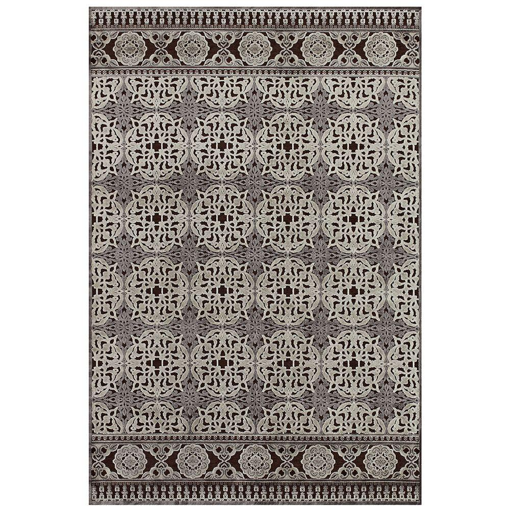 Feizy Saphir Dark Chocolate/Silver 2 ft. 2 in. x 4 ft. Indoor Accent Rug
