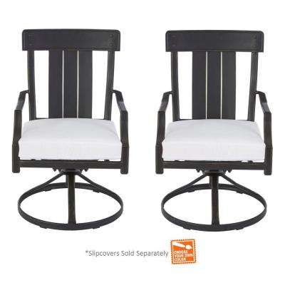 Oak Heights Motion Metal Outdoor Patio Dining Chair with Cushions Included, Choose Your Own Color (2-Pack)