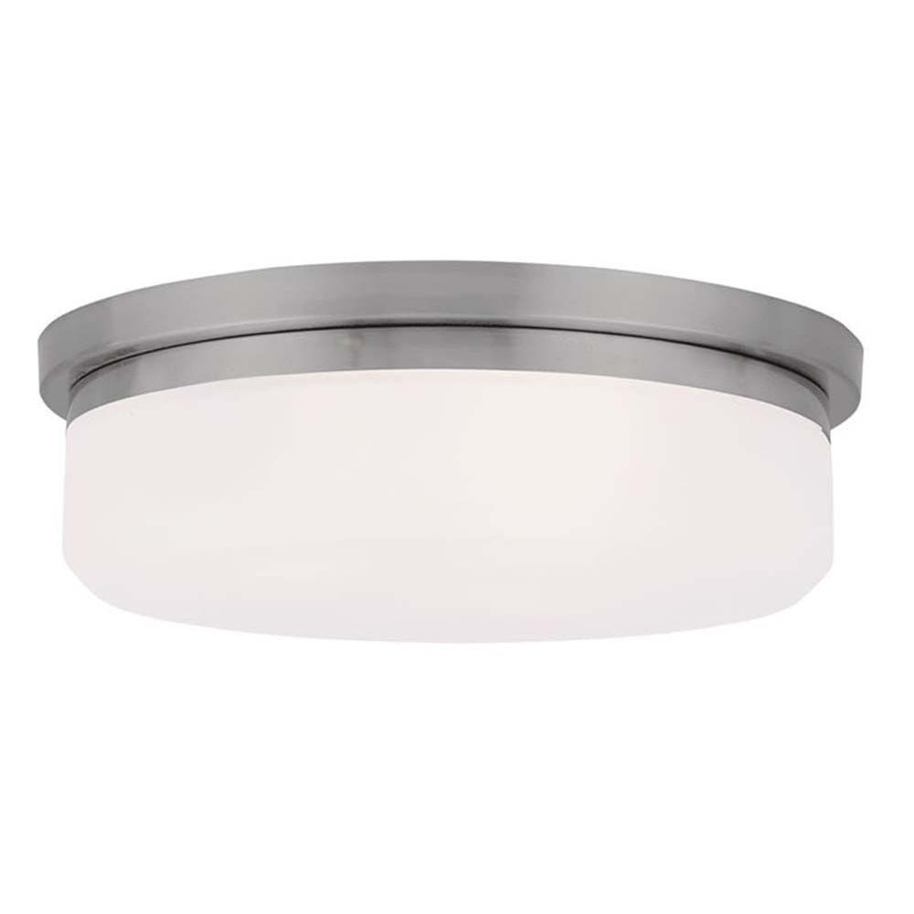 Livex Lighting Providence 2-Light Ceiling Brushed Nickel Incandescent Flush Mount