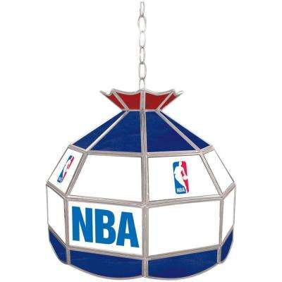 NBA Logo 16 in. Nickel Hanging Tiffany Style Lamp