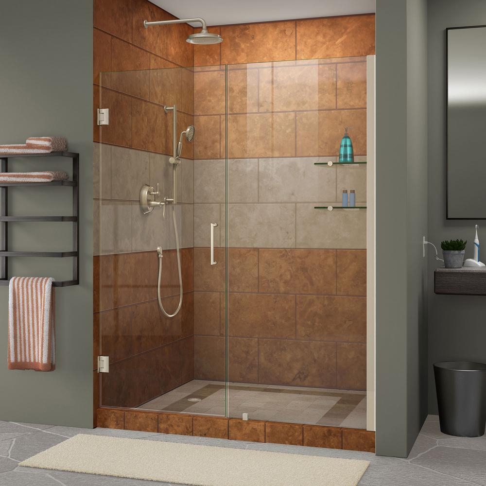 DreamLine Unidoor 53 to 54 in. x 72 in. Frameless Hinged Pivot Shower Door in Brushed Nickel with Handle