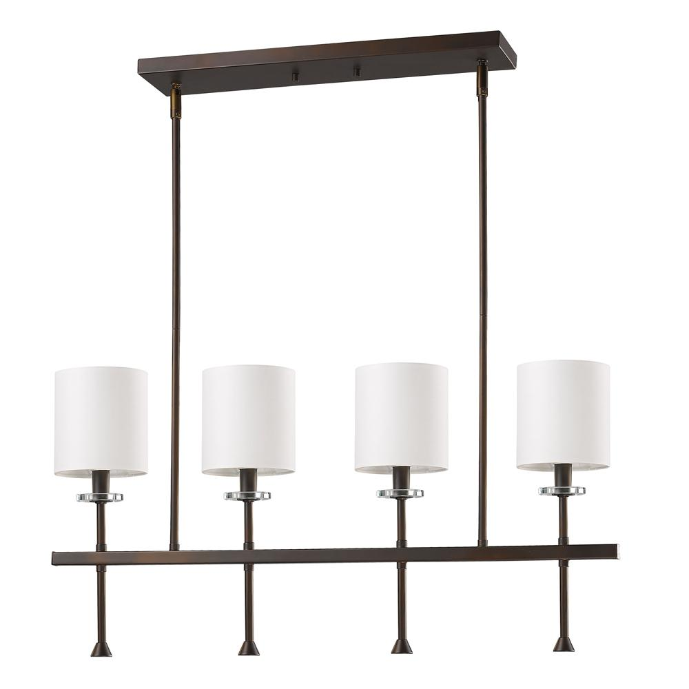 Acclaim Lighting Kara Indoor 4-Light (Island) Oil Rubbed Bronze Chandelier with Shades and Crystal Bobeches