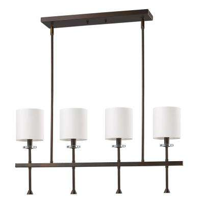 Kara Indoor 4-Light (Island) Oil Rubbed Bronze Chandelier with Shades and Crystal Bobeches