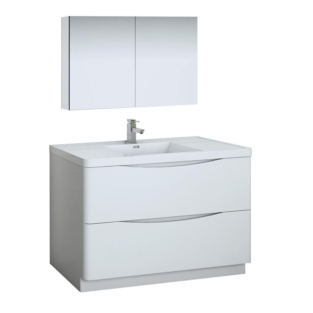 Tuscany 48 in. Modern Bathroom Vanity in Glossy White with Vanity Top in White with White Basin, Medicine Cabinet