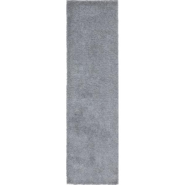 Tayse Rugs Wembley Shag Light Gray 2 Ft X 7 Ft Solid Polypropylene Runner Rug Wmb3221 2x8 The Home Depot