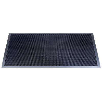 Fingertip Black 36 in. x 72 in. Black Rubber Door Mat