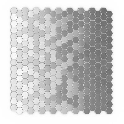 Hexagonia S2 Silver 11.46 in. x 11.89 in. x 5mm Metal Self Adhesive Wall Mosaic Tile