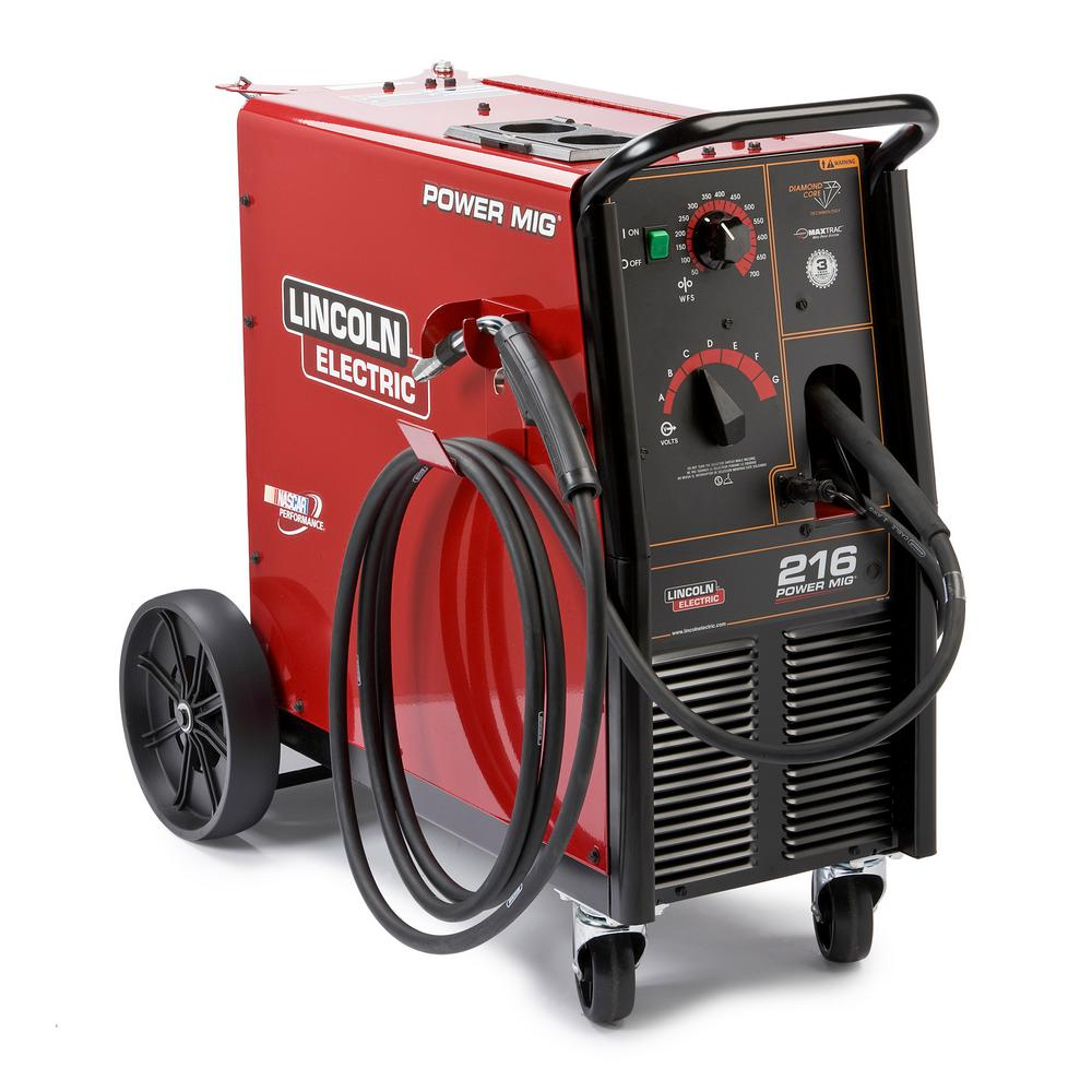 Lincoln Electric 216 Amp Power MIG 216 MIG Wire Feed Welder with Magnum Pro 250L Gun, Single Phase, 230V