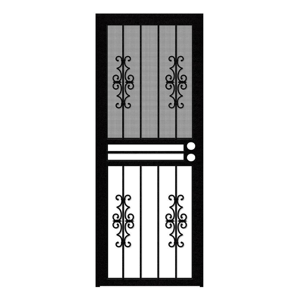 Unique Home Designs 30 in. x 80 in. Watchman Duo Black Recessed Mount All Season Security Door with Insect Screen and Glass Inserts