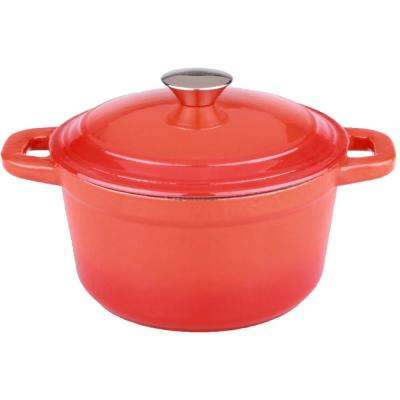 Neo 7 Qt. Round Cast Iron Orange Casserole Dish with Lid