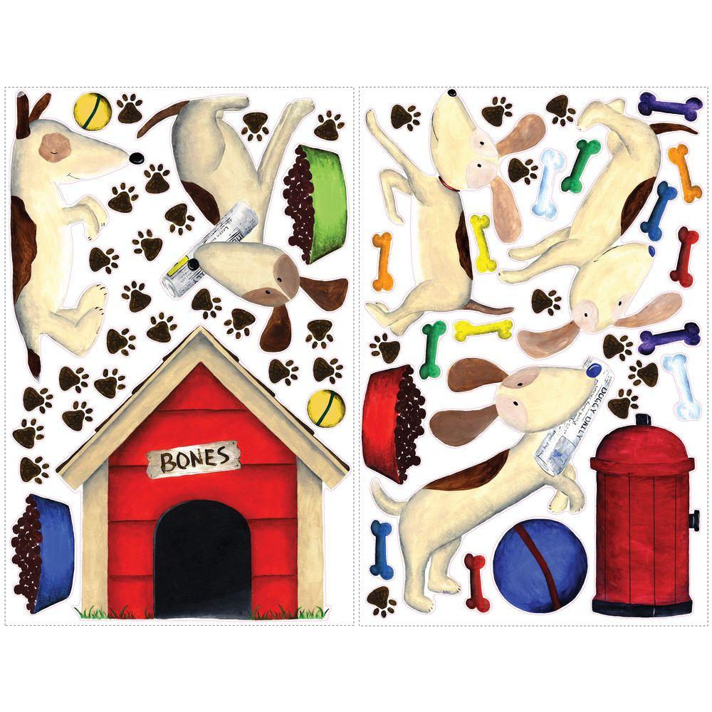 null 27 in. x 40 in. Doggie Treats MegaPack 59-Piece Peel and Stick Giant Wall Decals-DISCONTINUED