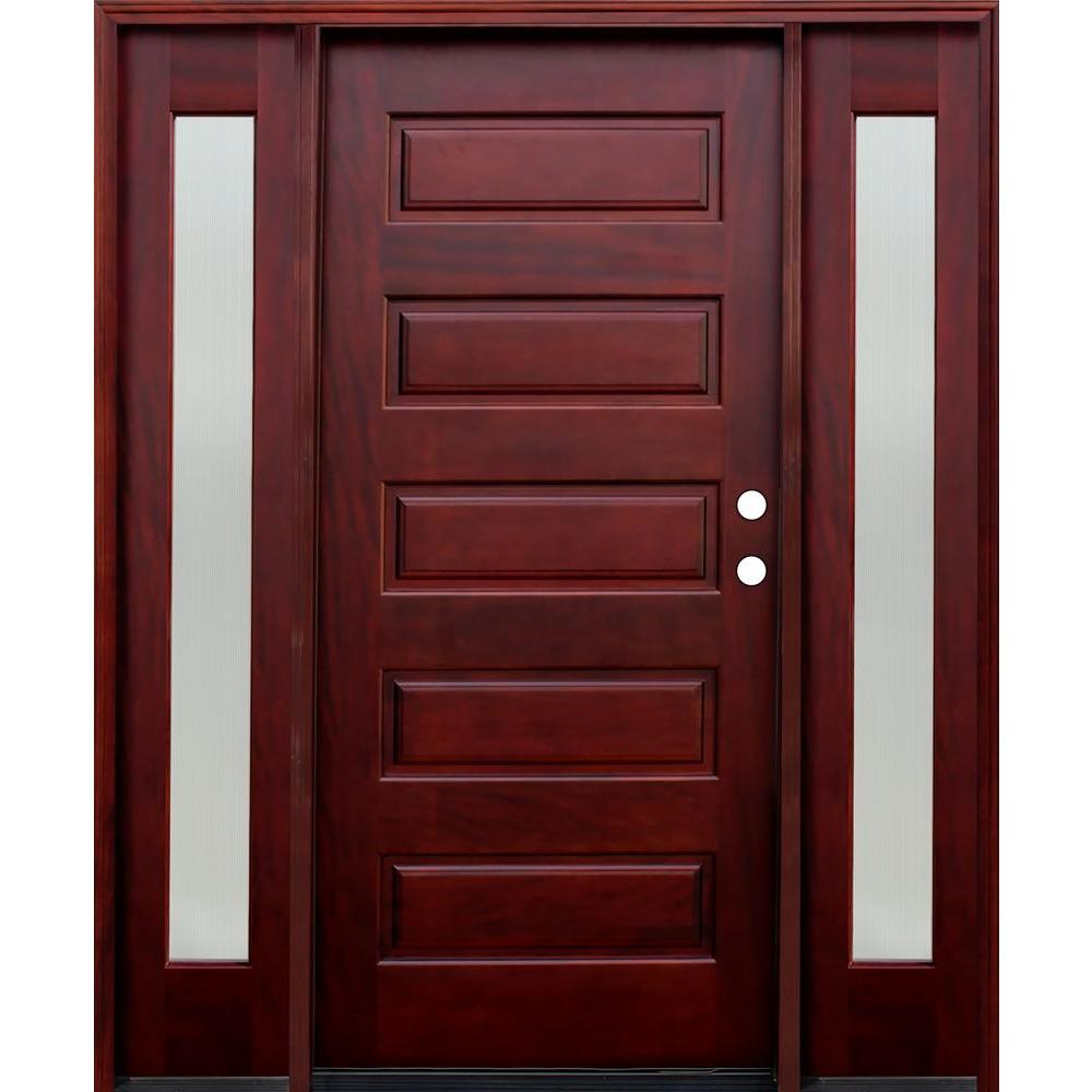 66 in. x 80 in. 5-Panel Stained Mahogany Wood Prehung Front