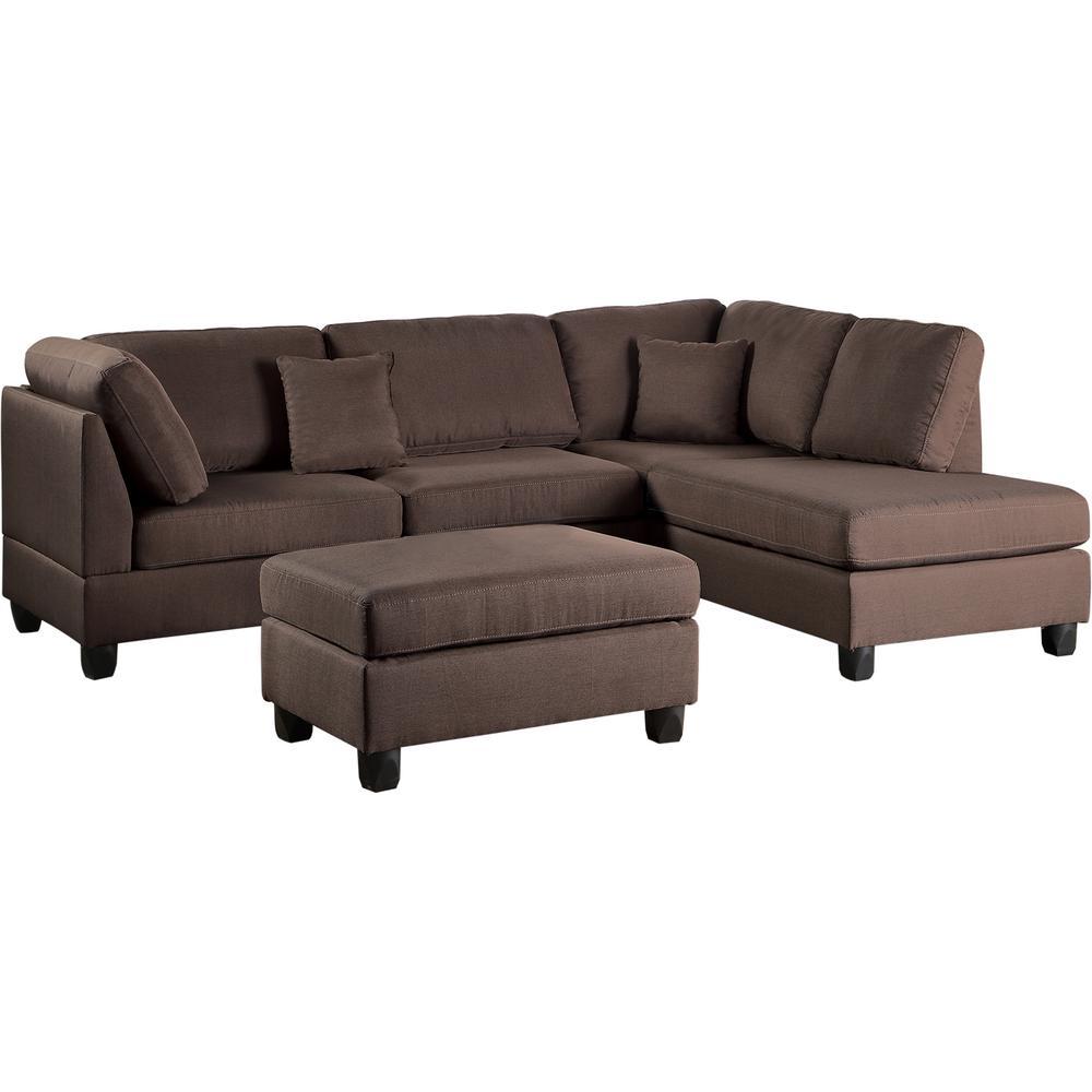 Venetian Worldwide Madrid 3 Piece Chocolate Reversible Sectional Sofa With Ottoman