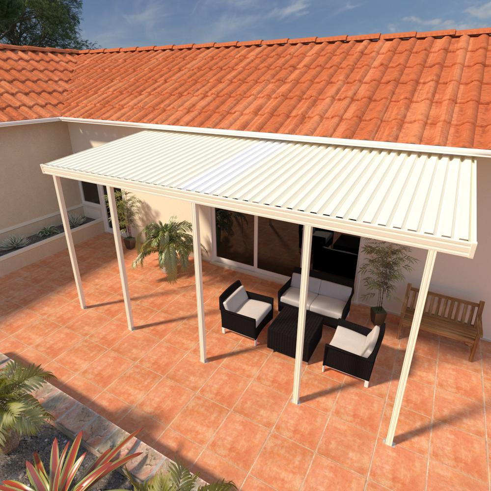 Integra 8 ft  x 24 ft  Ivory Aluminum Attached Solid Patio Cover with  5-Posts Maximum Roof Load 30 lbs