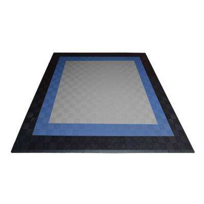 17.5 ft. x 17.5 ft. Silver with Black and Blue Borders Ribtrax Smooth ECO Double Car Pad Kit
