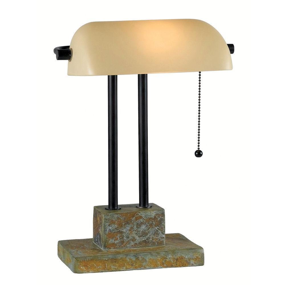 Greenville 15 in. Natural Slate Banker Lamp