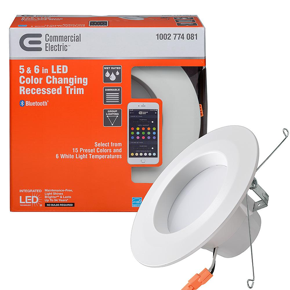 Commercial Electric 5 In And 6 Color Selectable Integrated Led Recessed Trim Bluetooth Compatible W 21 Options Dimmable 4 Pack