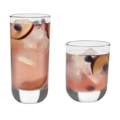 Polaris 16-Piece Clear Glass Drinkware Set