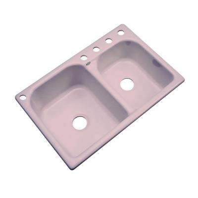 Cambridge Drop-In Acrylic 33 in. 5-Hole Double Bowl Kitchen Sink in Wild Rose