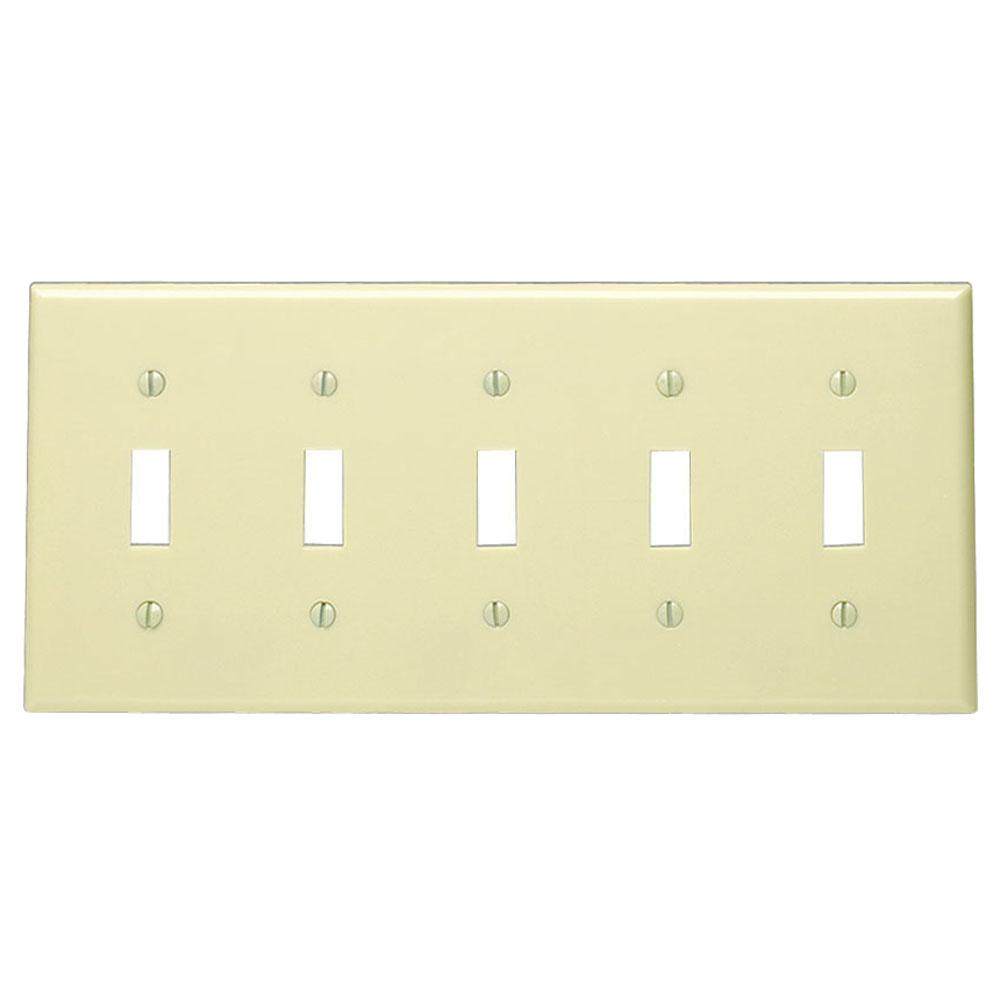 Leviton 5-Gang Toggle Switch Wall Plate, Ivory-86023 - The Home Depot