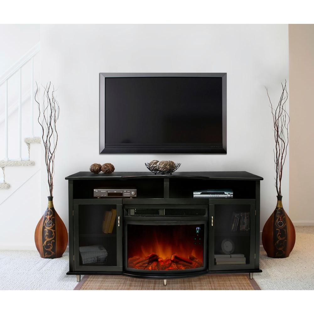 Paramount Mandalay 66 in. Media Console Electric Fireplace in Black