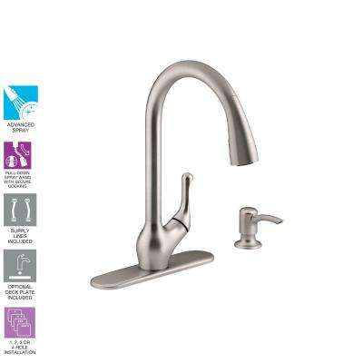Barossa Single-Handle Pull-Down Sprayer Kitchen Faucet with Soap/Lotion Dispenser in Vibrant Stainless