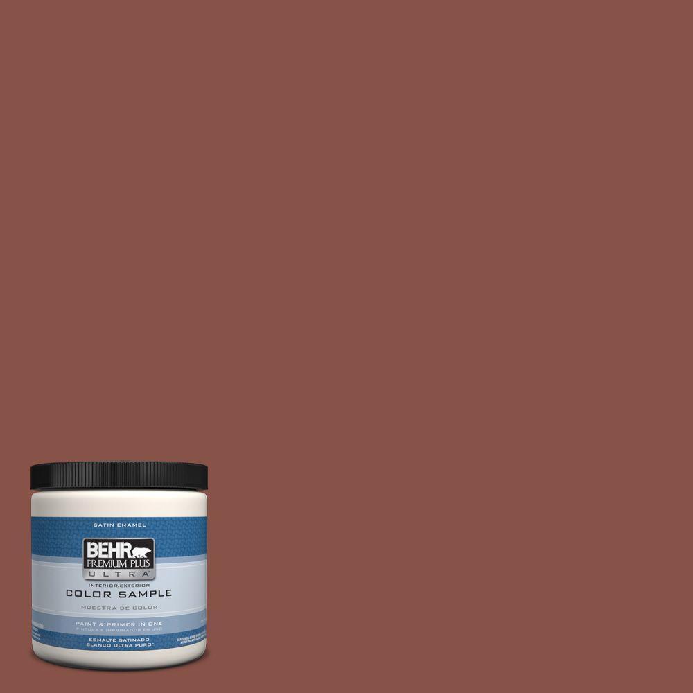 Behr Premium Plus Ultra 8 Oz Ppu2 18 Spice Interior Exterior Satin Enamel Paint Sample Ul22316