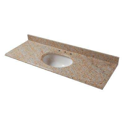 61 in. Granite Vanity Top in Beige with Biscuit Basin