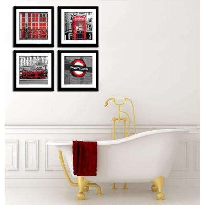 """Four 10 in. x 10 in. """"Red London"""" by Neeva Kedem Framed Printed Wall Art"""