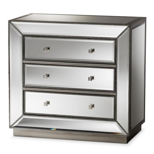 Edeline 3-Drawer Silver Metallic Chest of Drawers