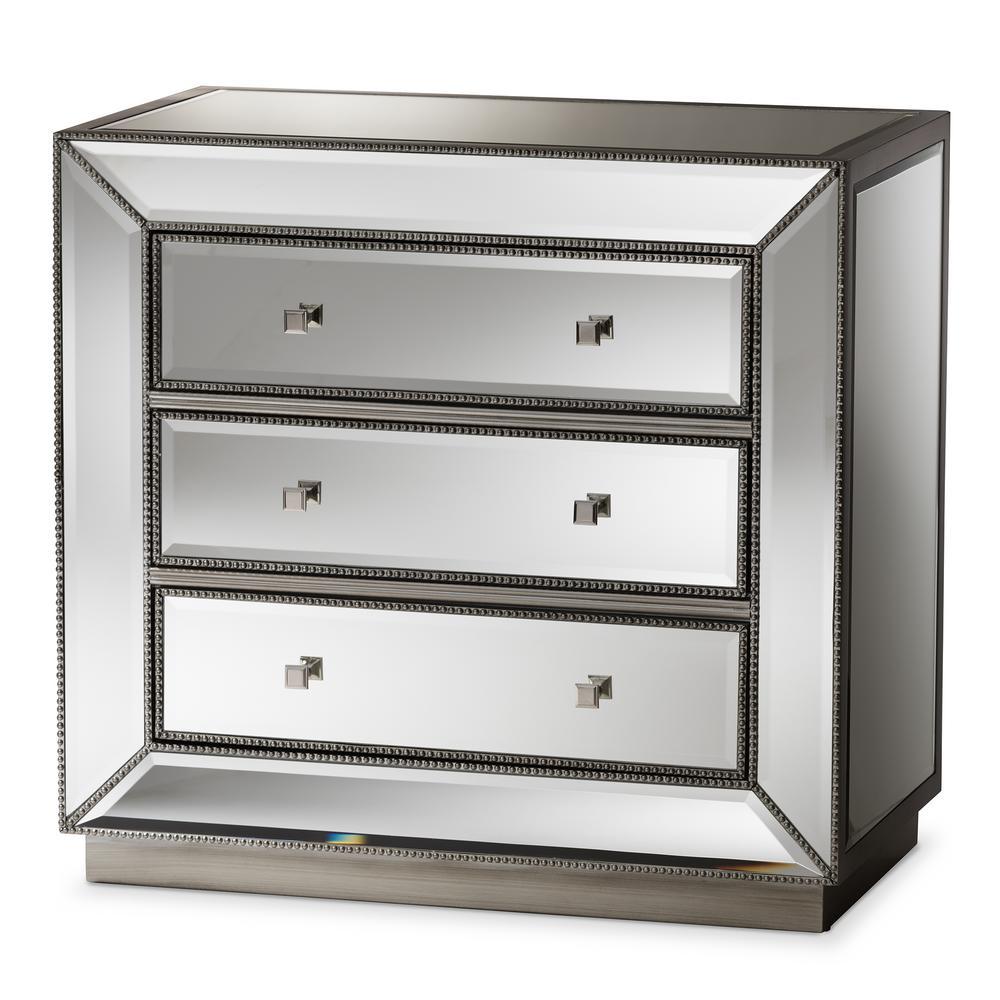 Edeline 3-Drawer Silver Metallic Chest