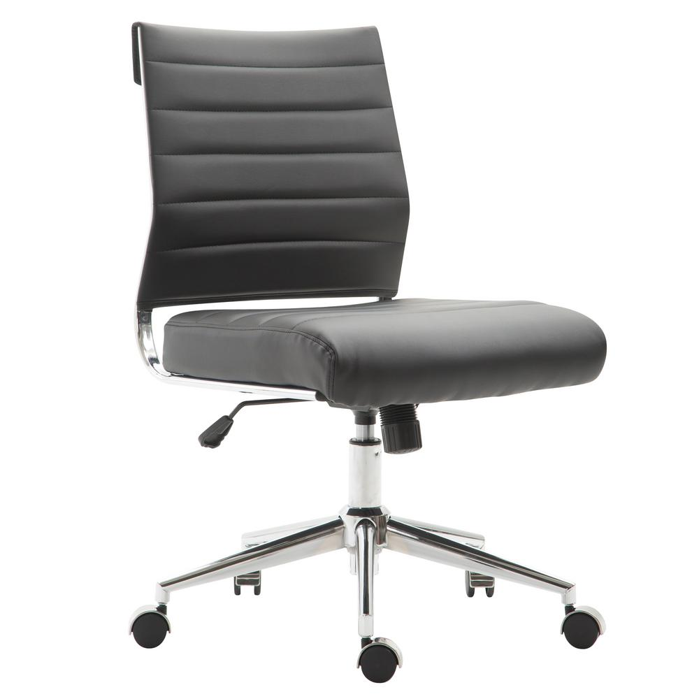 Tremaine Task Black Chair in Vegan Leather