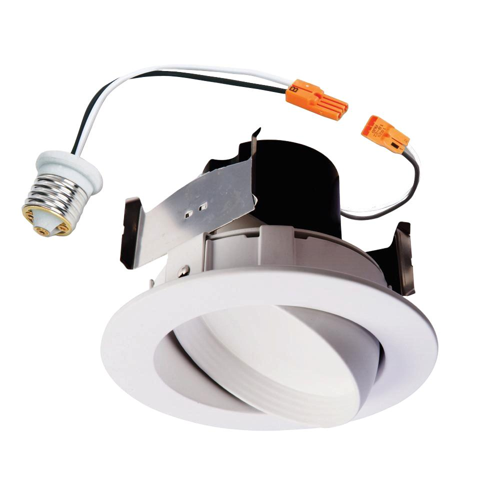 Halo Ra 4 In White Integrated Led Recessed Ceiling Light Fixture Adjule Gimbal Retrofit Trim
