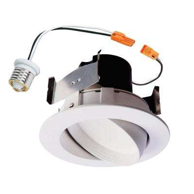 RA 4 in. White Integrated LED Recessed Ceiling Light Fixture Adjustable Gimbal Retrofit Trim, 90 CRI, 3000K Soft White