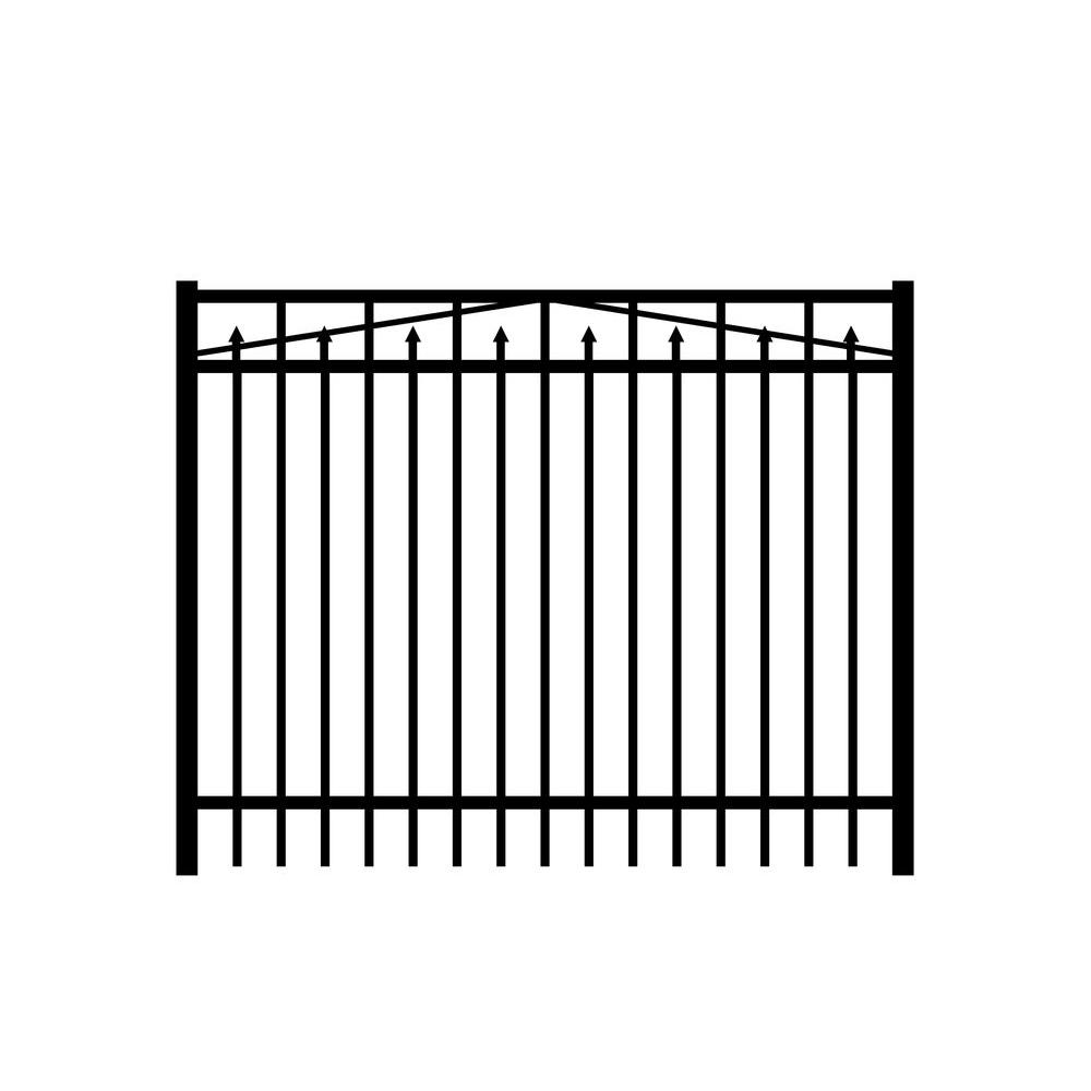 Adams 6 ft. W x 4 ft. H Black Aluminum 3-Rail