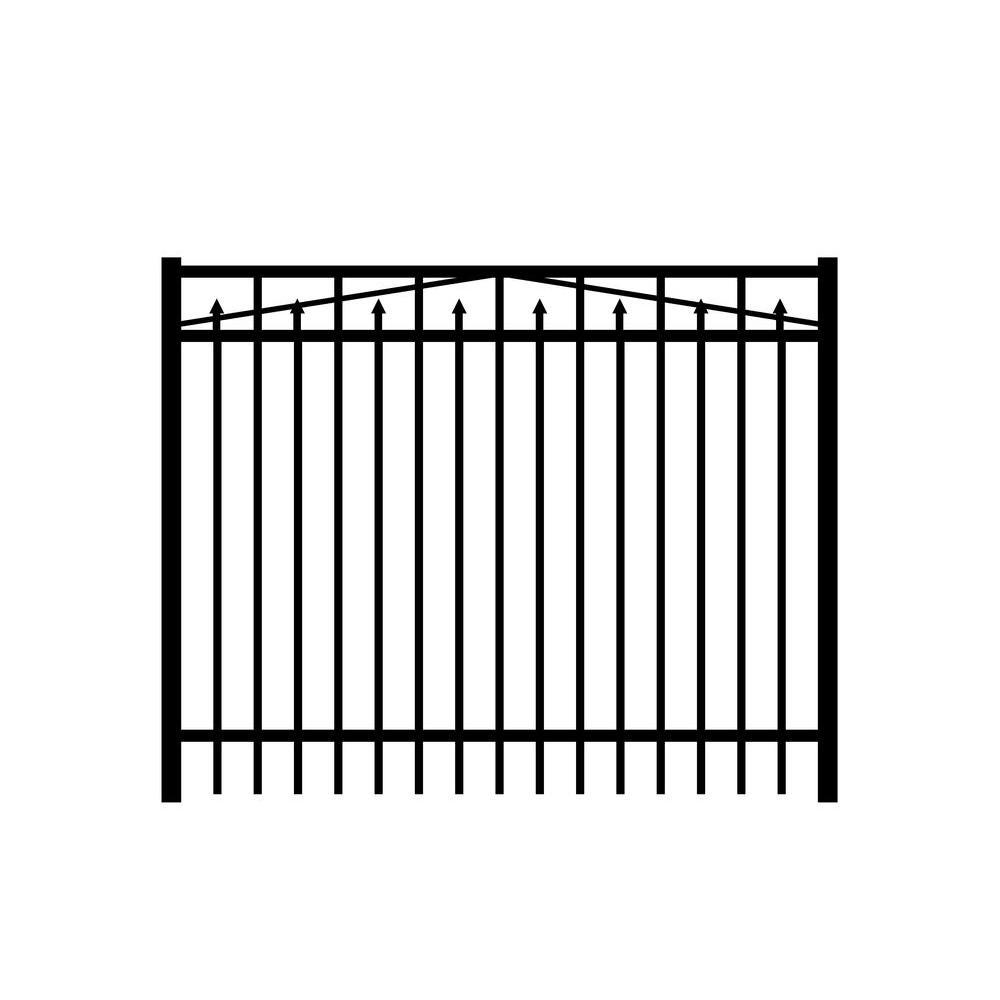 Adams 6 ft. W x 5 ft. H Black Aluminum 3-Rail Fence Gate