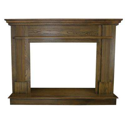 56-1/2 in. x 40-1/2 in. Wood Mantle in Medium Oak