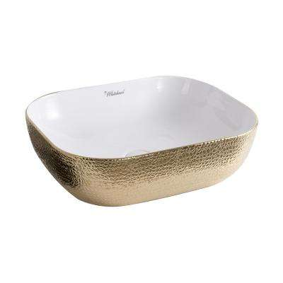 Isabella Plus Collection Rectangular Above Counter Mount Vessel Sink in White and Gold