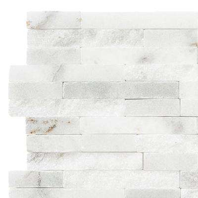 Churchill White Split Face 3 in. x 6 in. x 13 mm Marble Mosaic Tile Sample