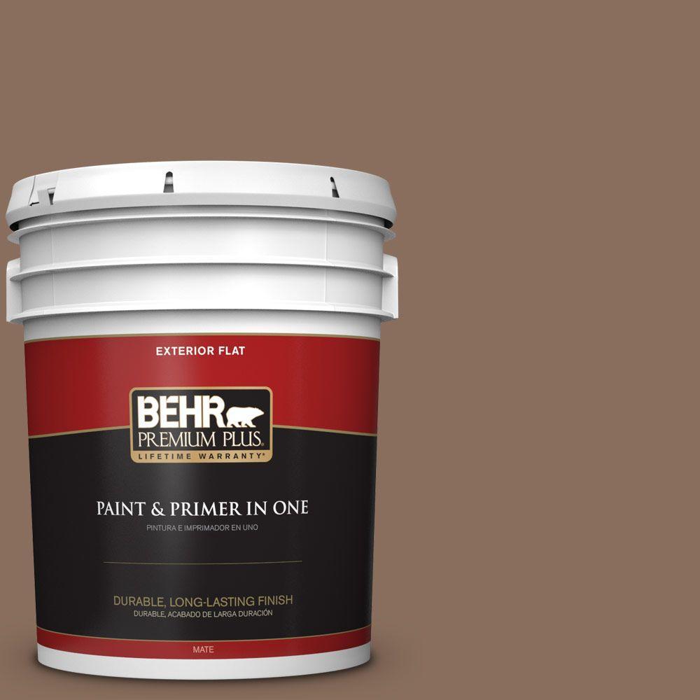 5-gal. #N190-6 Nut Brown Flat Exterior Paint