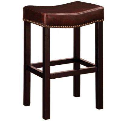 Tudor 26 in. Brown Bonded Leather with Chrome Nailhead Accents Backless Stationary Barstool
