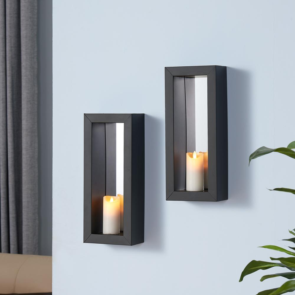 DANYA B Black Metal Frame Pillar Wall Candle Sconces With Mirror(Set Of  2) SE1902   The Home Depot