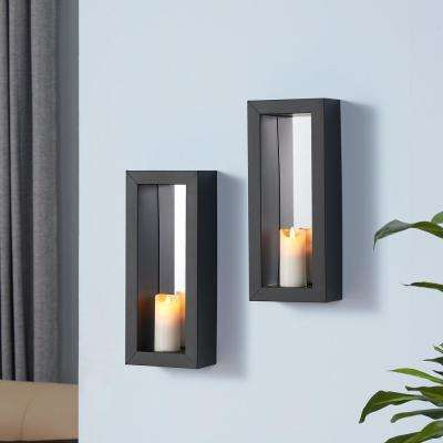 Black Metal Frame Pillar Wall Candle Sconces with Mirror(Set of 2)