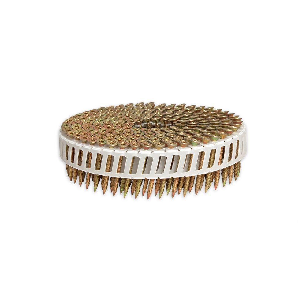Scrail 1-3/8 in. x 1/9 in.15-Degree Electro-Galvanized Plastic Sheet Coil Star Head Nail Screw Fastener (2,000-Pack)