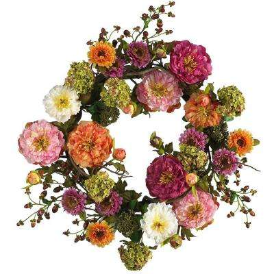 24 In. Peony Silk Plant Wreath