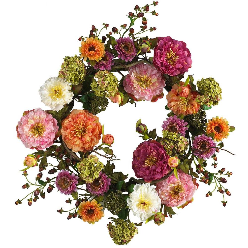 Nearly Natural 24 In. Peony Silk Plant Wreath